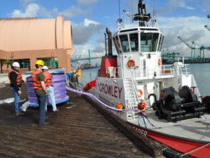 Cortland Plasma® rope being installed on a Crowley Tug