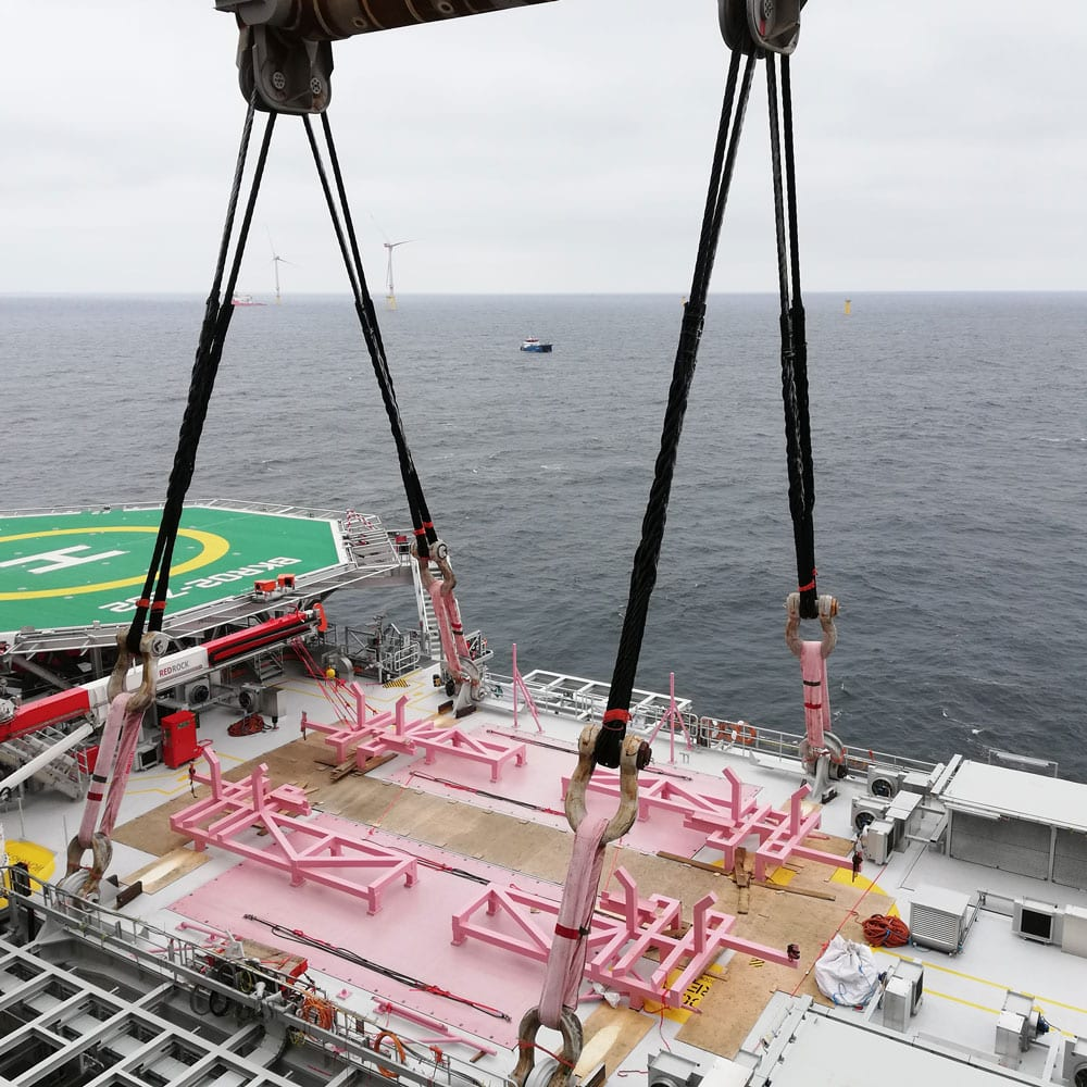 Custom Cortland Selantic® round slings in an offshore application