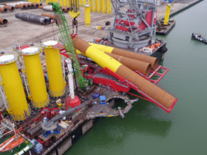 Cortland lifting slings used for transporting offshore wind farm equipment