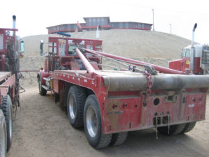 Cortland synthetic rope used on a mining tow truck