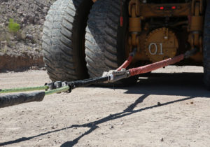 Cortland engineered tow line system being used with Caterpillar equipment