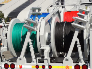 Spools of rope used by utility company